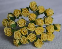 8mm LIGHT YELLOW SEMI-OPEN ROSE BUDS Mulberry Paper Flowers